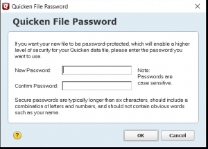 Password on Quicken end-of-year copy tool