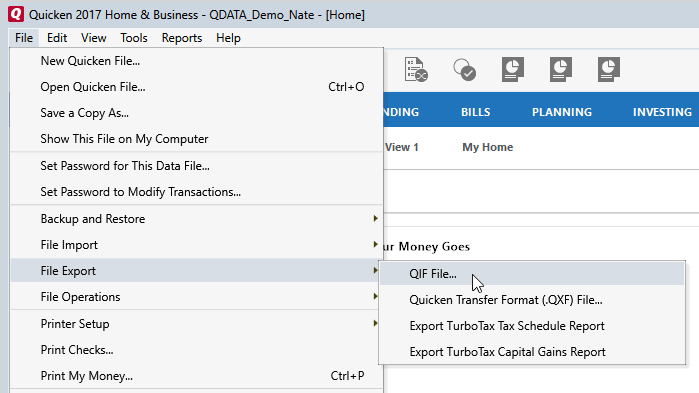 Moneyspire Import Quicken Data Step 1&2