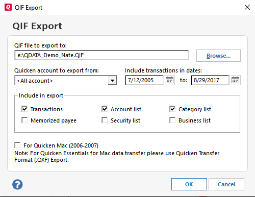 Moneyspire Import Quicken Data Step 3
