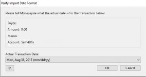Moneyspire Import Quicken Data date format